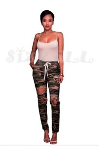 "THE ""DENNI"" CAMO  RIPPED  HIGH WAISTED SKINNIES..."