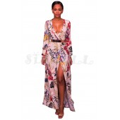 "THE ""MONICA"" ULTRA SEXY FLORAL WRAP LUXE MAXI DRESS..."