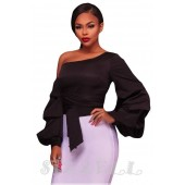 "THE ""LEANNE"" CHIC LUXE RUFFLE LONG SLEEVE TOP... BLACK..."