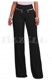 "THE ""AMIE"" CHIC HIGH WAISTED LUXURY WIDE LEG TROUSER W/ GOLD ZIP DETAILS.... BLACK..."