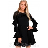 """THE """" CINDY"""" LACE RUFFLED LONG SLEEVED LUXE SKATER DRESS ..."""