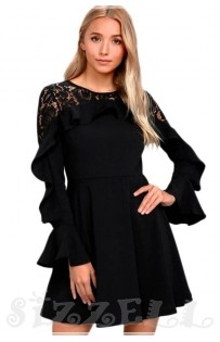 "THE "" CINDY"" LACE RUFFLED LONG SLEEVED LUXE SKATER DRESS ..."