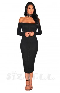 "THE ""ANYIA"" OFF SHOULDER RUBBED LUXE MIDI DRESS... BLACK..."