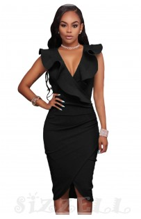 "THE ""LINA"" RUFFLE V NECKLINE WRAP BODYCON LUXE DRESS... BLACK..."
