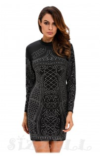 "THE ""KORA"" LUXE STUDDED BODYCON DRESS... BLACK..."
