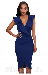 "THE ""LINA"" RUFFLE V NECKLINE WRAP BODYCON LUXE DRESS... BRIGHT NAVY..."
