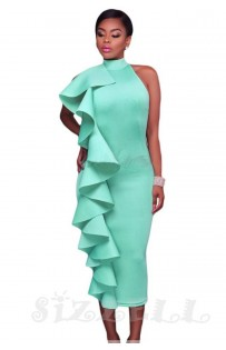 "THE ""GIANNA"" HEADTURNER RUFFLE HALTER MIDI LUXURY DRESS... SEAFOAM BLUE..."