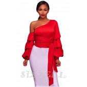 "THE ""LEANNE"" CHIC LUXE RUFFLE LONG SLEEVE TOP... RED..."