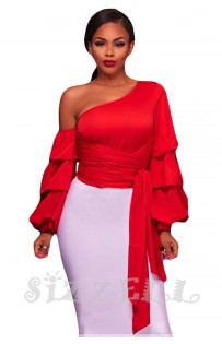 """THE """"LEANNE"""" CHIC LUXE RUFFLE LONG SLEEVE TOP... RED..."""