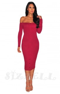 "THE ""ANYIA"" OFF SHOULDER RUBBED LUXE MIDI DRESS...  RASPBERRY..."