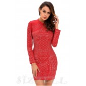 """THE """"KORA"""" LUXE STUDDED BODYCON DRESS... RED..."""