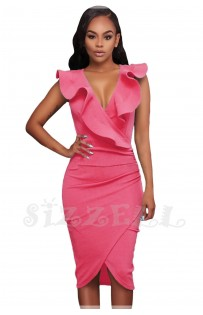 "THE ""LINA"" RUFFLE V NECKLINE WRAP BODYCON LUXE DRESS... PETAL PINK..."