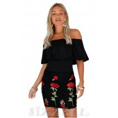 "THE ""GENNE"" OFF SHOULDER RUFFLED EMBROIDERED LUXE LBD..."
