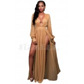 "THE ""GODDESS"" SHIMMERING MOCHA NUDE  DOUBLE SLITS MAXI LUXE DRESS ..."