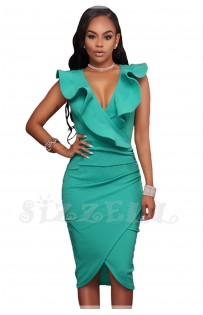 "THE ""LINA"" RUFFLE V NECKLINE WRAP BODYCON LUXE DRESS... AQUA..."