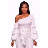 "THE ""LEANNE""  CHIC LUXE RUFFLE LONG SLEEVE TOP...  WHITE..."
