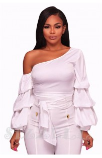 """THE """"LEANNE""""  CHIC LUXE RUFFLE LONG SLEEVE TOP...  WHITE..."""