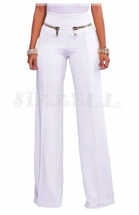 "THE ""AMIE"" CHIC HIGH WAISTED LUXURY WIDE LEG TROUSER W/ GOLD ZIP DETAILS.... WHITE..."