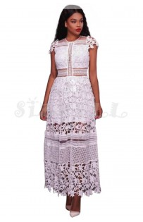 "THE ""BELLE"" LUXURY INTICATE DESIGN CUTOUT WHITE LACE MAXI DRESS..."