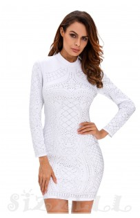"THE ""KORA"" LUXE STUDDED BODYCON DRESS... WHITE..."