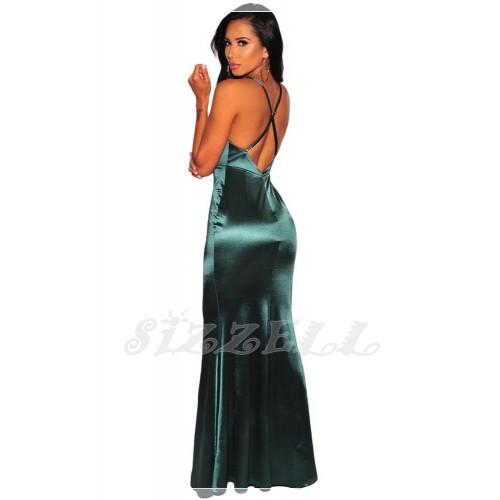 "THE ""RHEA"" LUXE SATIN GLAM MAXI DRESS... EMERALD..."