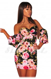 "THE ""GENNA"" OFF SHOULDER LUXE FLORAL MINI DRESS... BLACK/PINK MULTI FLORAL..."