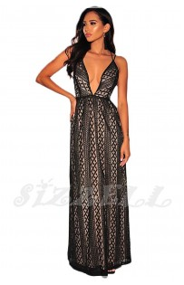 "THE "" KATIE"" TEXTURED LACE LUXURY MAXI DRESS W/ PLUNGING NECKLINE... BLACK/NUDE..."
