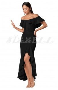 "THE ""REM"" OFF SHOULDER LUXE RUFFLED MAXI DRESS W/ HIGH-LOW HEMLINE... BLACK..."