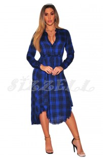 "THE ""MIRA"" LUXE PLAID SHIRT MIDI DRESS.... BLUE PLAID..."