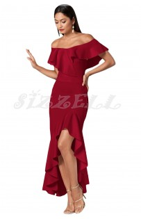 "THE ""REM"" OFF SHOULDER LUXE RUFFLED MAXI DRESS W/ HIGH-LOW HEMLINE... BERRY..."