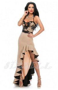 "THE ""RITA"" BLACK LACE & CHAMPANE NUDE CASCADING RUFFLED SLIT LUXE MAXI DRESS..."