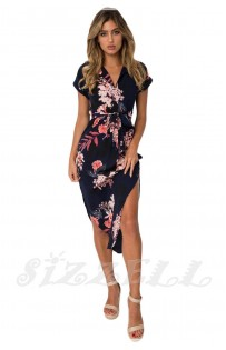 "THE ""LERA"" NAVY FLORAL LUXE MIDI DRESS... NAVY PINK FLORAL..."