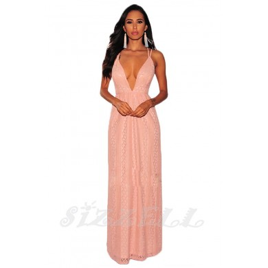 "THE "" KATIE"" TEXTURED LACE LUXURY MAXI DRESS W/ PLUNGING NECKLINE... SLAYING PINK/ NUDE..."
