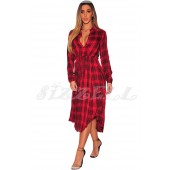 "THE ""MIRA"" LUXE PLAID SHIRT MIDI DRESS.... RED PLAID..."