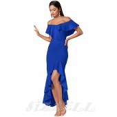 "THE ""REM"" OFF SHOULDER LUXE RUFFLED MAXI DRESS W/ HIGH-LOW HEMLINE... COBALT BLUE..."