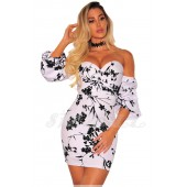 "THE ""GENNA"" OFF SHOULDER LUXE FLORAL MINI DRESS... WHITE/ BLACK FLORAL..."