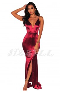 "THE ""RHEA"" LUXE SATIN GLAM MAXI DRESS...  GODDESS WINE..."