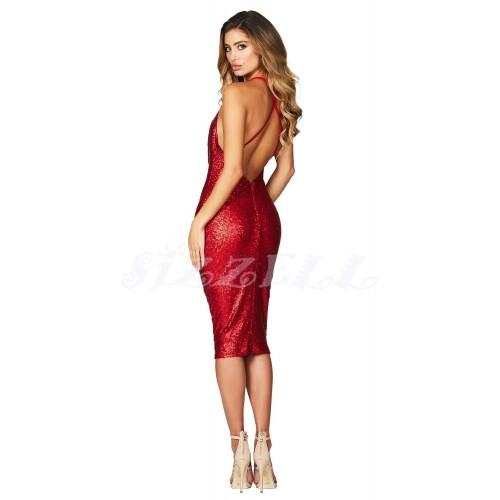 "THE "" ELVIRA""  LUXURY MATTE SEQUIN  DRAPE NECKLINE DRESS... RUBY RED"