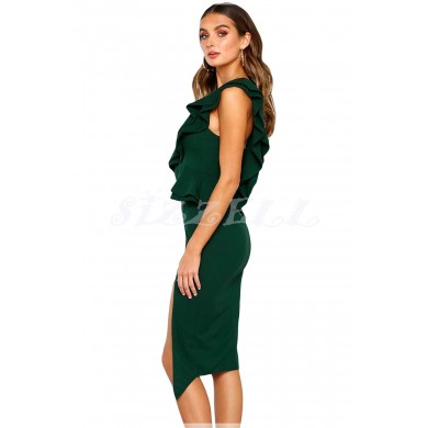 """THE """" ALAINE """" SWEETHEART RUFFLED ONE SHOULDER COCKTAIL DRESS.... EMERALD"""
