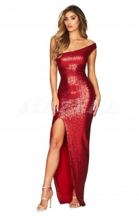 """THE """" BREE """" LUXURY OFF-ONE - SHOULDER SEQUIN MAXI DRESS... RUBY"""