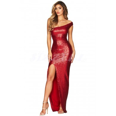 "THE "" BREE "" LUXURY OFF-ONE - SHOULDER SEQUIN MAXI DRESS... RUBY"