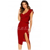 "THE "" ALAINE "" SWEETHEART RUFFLED ONE SHOULDER COCKTAIL DRESS....  RUBY"