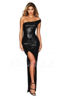 """THE """" BREE """" LUXURY OFF-ONE - SHOULDER SEQUIN MAXI DRESS... BLACK"""
