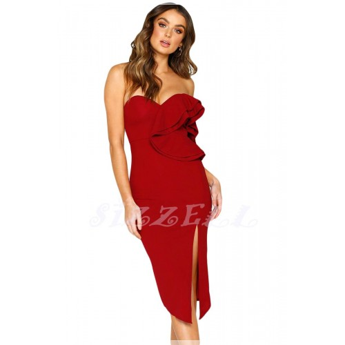"""THE """" ALAINE """" SWEETHEART RUFFLED ONE SHOULDER COCKTAIL DRESS....  RUBY"""