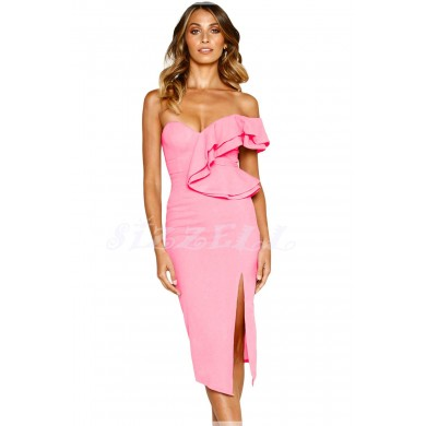 "THE "" ALAINE "" SWEETHEART RUFFLED ONE SHOULDER COCKTAIL DRESS....  BUBBLEGUM...."