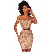 "THE "" PIA "" LUXE OFF SHOULDER NUDE ILLUSION W/ INTRICATE SEQUIN DESIGN..."