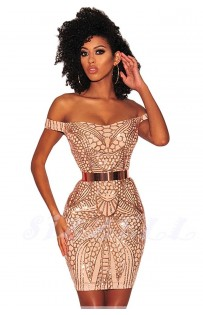 """THE """" PIA """" LUXE OFF SHOULDER NUDE ILLUSION W/ INTRICATE SEQUIN DESIGN..."""