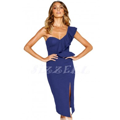 """THE """" ALAINE """" SWEETHEART RUFFLED ONE SHOULDER COCKTAIL DRESS.... SAPPHIRE"""
