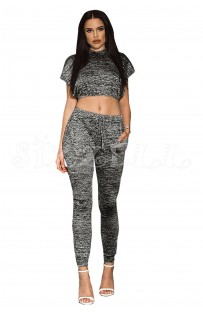 "THE "" NEELY"" MARLED CROP TOP & DRAWSTRIG PANT SET... CHARCOAL GREY.."