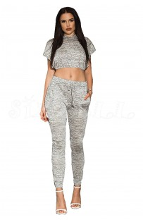 "THE "" NEELY"" MARLED CROP TOP & DRAWSTRIG PANT SET... LIGHT GREY.."
